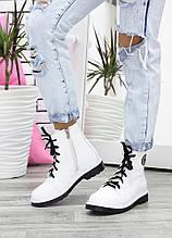 Ботинки на шнуровке белая кожа демисезонные