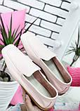 Туфлі мокасини жіночі шкіряні рожеві, фото 2