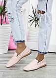 Туфлі мокасини жіночі шкіряні рожеві, фото 4
