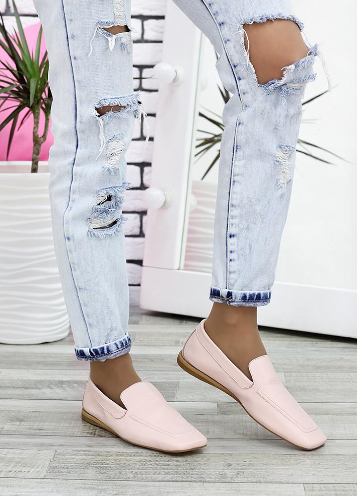 Туфлі мокасини жіночі шкіряні рожеві
