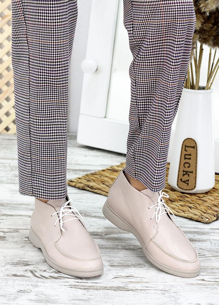 Мокасины туфли женские натуральная кожа бежевые