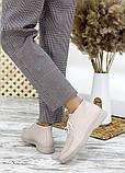 Мокасины туфли женские натуральная кожа бежевые, фото 2