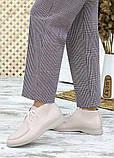 Мокасины туфли женские натуральная кожа бежевые, фото 4