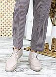 Мокасины туфли женские натуральная кожа бежевые, фото 6