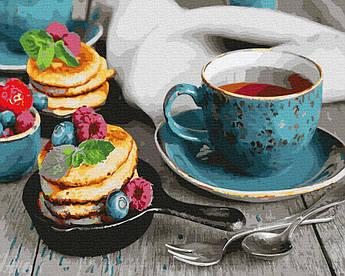 Картина рисование по номерам Brushme Чай с оладушками GX26494 40х50см набор для росписи по цифрам в коробке