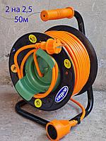 Удлинитель на катушке 50 метров SVITTEX выносной провод, сечение провода 2х2,5 мм²