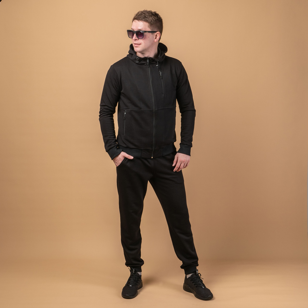 Мужской костюм спортивный модный  46-54 черный