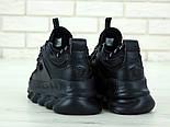 Женские кроссовки Versace Chain Reaction черные демисезонные весна-осень. Живое фото. Реплика, фото 3