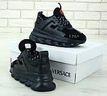 Женские кроссовки Versace Chain Reaction черные демисезонные весна-осень. Живое фото. Реплика, фото 5