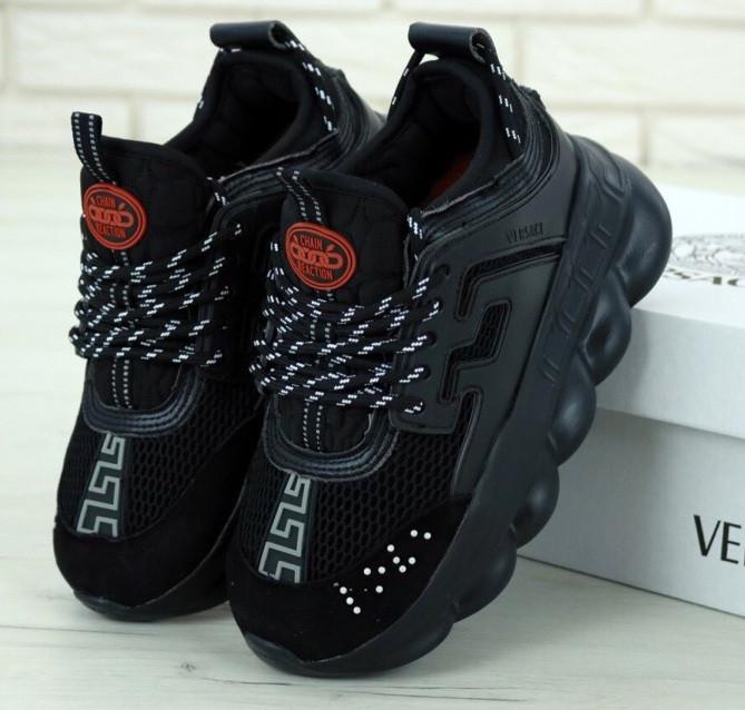 Женские кроссовки Versace Chain Reaction черные демисезонные весна-осень. Живое фото. Реплика