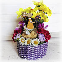 Сувенир на пасху маленькая корзинка с кроликом Пасхальная поделка в детский сад или школу Ручная работа