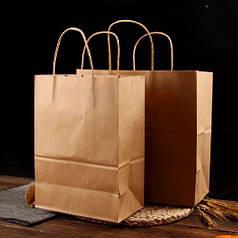 Бурий крафт-пакет з витими ручками (320х150)