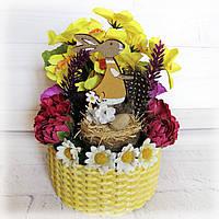 Пасхальный сувенир корзинка с кроликом Поделка на пасху в детский сад или школу Ручная работа