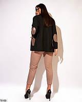 Стильний жіночий лляний костюм з вставками з еко-шкіри з 50 по 56 розмір, фото 3