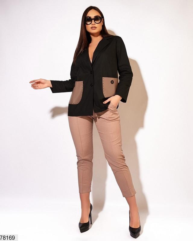 Стильний жіночий лляний костюм з вставками з еко-шкіри з 50 по 56 розмір