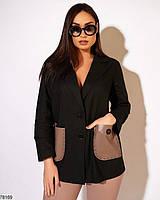Стильний жіночий лляний костюм з вставками з еко-шкіри з 50 по 56 розмір, фото 4