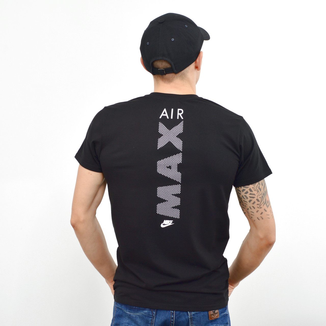 Мужская футболка с накаткой Nike (реплика) на груди и спине  Черный