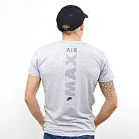 Чоловіча футболка з накаткою Nike (репліка) на грудях і спині Світлий сірий