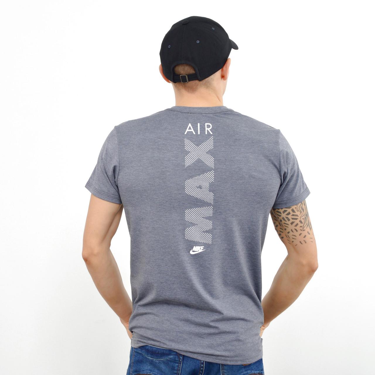 Чоловіча футболка з накаткою Nike (репліка) на грудях і спині Сірий