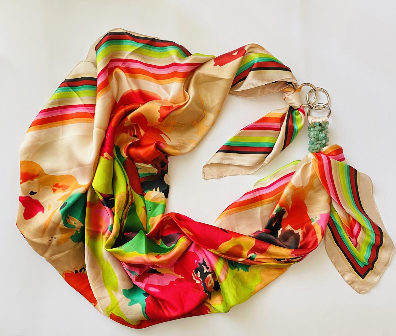 """Атласный платок """"Дольче Вита"""" My Scarf, шейный платок, шаль, подарок женщине"""