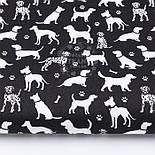"""Клапоть тканини """"Далматинці"""", білі на чорному, №2967, розмір 26*160 см, фото 2"""