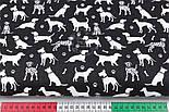 """Клапоть тканини """"Далматинці"""", білі на чорному, №2967, розмір 26*160 см, фото 3"""
