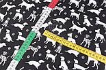 """Клапоть тканини """"Далматинці"""", білі на чорному, №2967, розмір 26*160 см, фото 4"""