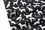 """Клапоть тканини """"Далматинці"""", білі на чорному, №2967, розмір 26*160 см, фото 6"""
