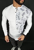 Чоловіча сорочка асиметрія біла з принтом, фото 1