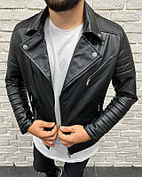 Косуха мужская из экокожи байкерская куртка черная | Кожанка производство Турция