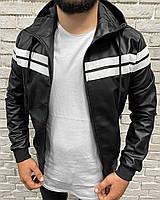 Кожаная спортивная мужская куртка с капюшоном из экокожи черная | Кожанка осень весна Турция