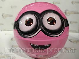 """Шлем детский открытый розовый Миньон, """"MotoTech""""."""