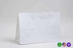 Білий крафт-пакет з витими ручками Ущільнені (450х160х400)