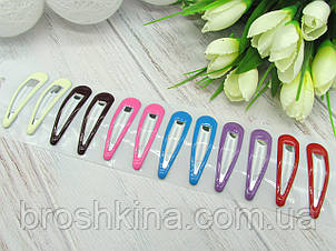 Заколки для волос тик-так 5 см металл/силикон 12 шт/уп.