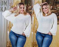 Женский однотонный свитер вязка