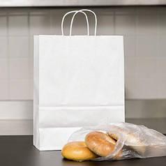 Белый крафт пакет с витыми ручками Уплотненные (230х120х290)