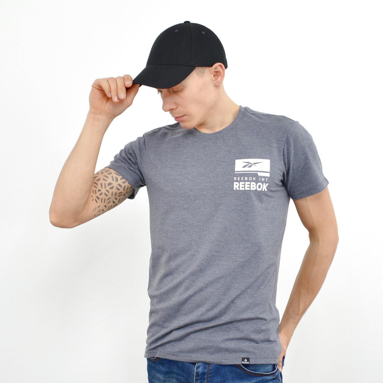 Мужская футболка с накаткой Reebok (реплика)  Серый
