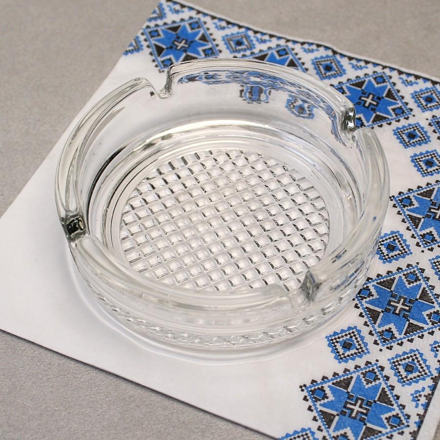 Кругла скляна попільничка з рифленим дном ОСЗ (4c1162)