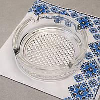 Кругла скляна попільничка з рифленим дном ОСЗ (4c1162), фото 1