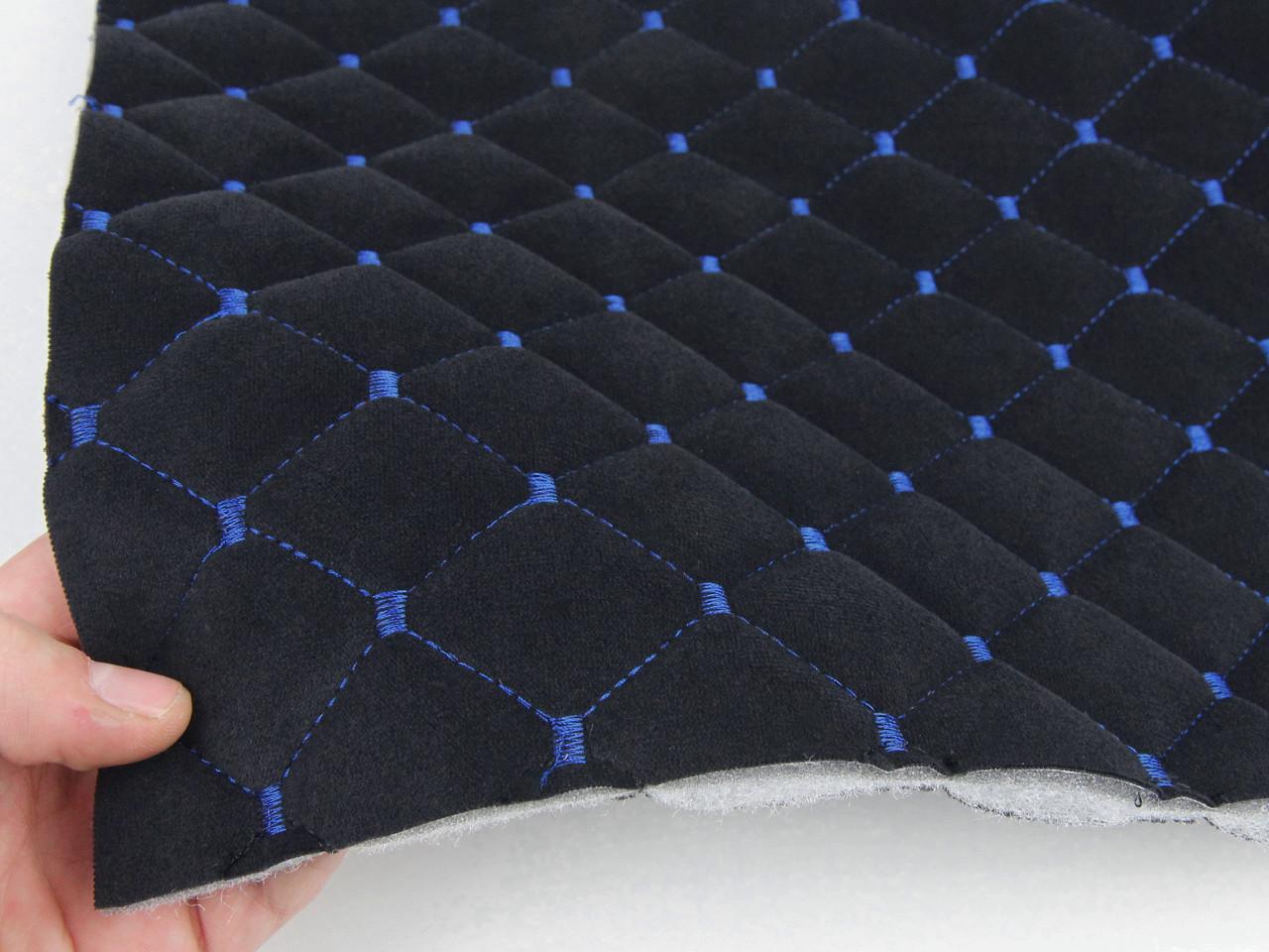 Велюр TRINITY стьобаний чорний «Ромб» (прошитий синьою ниткою) поролон, синтепоном і флізеліном шир 1,35 м