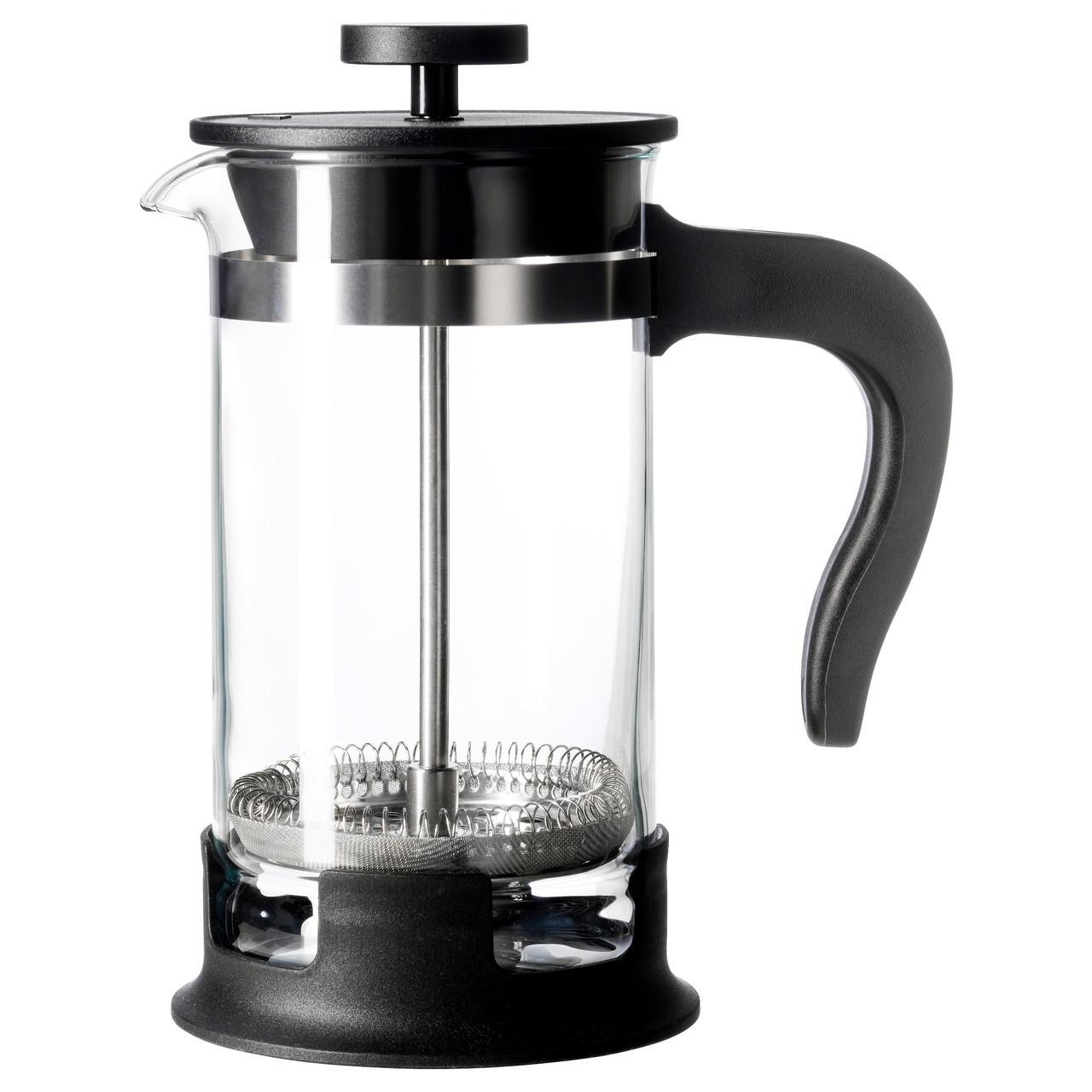 Кава-прес/заварювальний чайник IKEA UPPHETTA скло, нержавіюча сталь 0.4 л 002.978.50