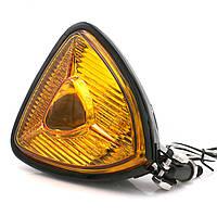 Мото фара хром, основного світла 35 W, Cafe Racer, Bobber, Custom, 12 V, кастомними, метал, жовте скло