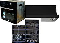 Комплект встраиваемой кухонной техники Grunhelm духовка GDG 259 B, поверхность GPG 6356 BEF, вытяжка GVT 114 В