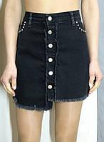 Джинсовая юбка черного цвета с пуговицами