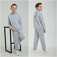 Спортивный костюм на мальчика светлосерый оверсайз на рост от 122 до 152 см