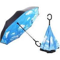 "Зонт навпаки Up-brella автомат, зворотний парасольку, колір ""Небо"", фото 4"