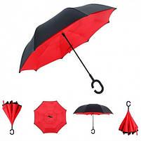 """Зонт навпаки Up-brella автомат, зворотний парасольку, колір """"Червоний"""", фото 2"""