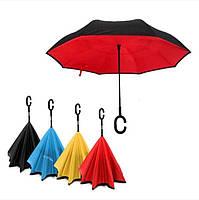 """Зонт навпаки Up-brella автомат, зворотний парасольку, колір """"Червоний"""", фото 3"""