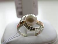 Кольцо серебряные с золотыми вставками и культивированым жемчугом