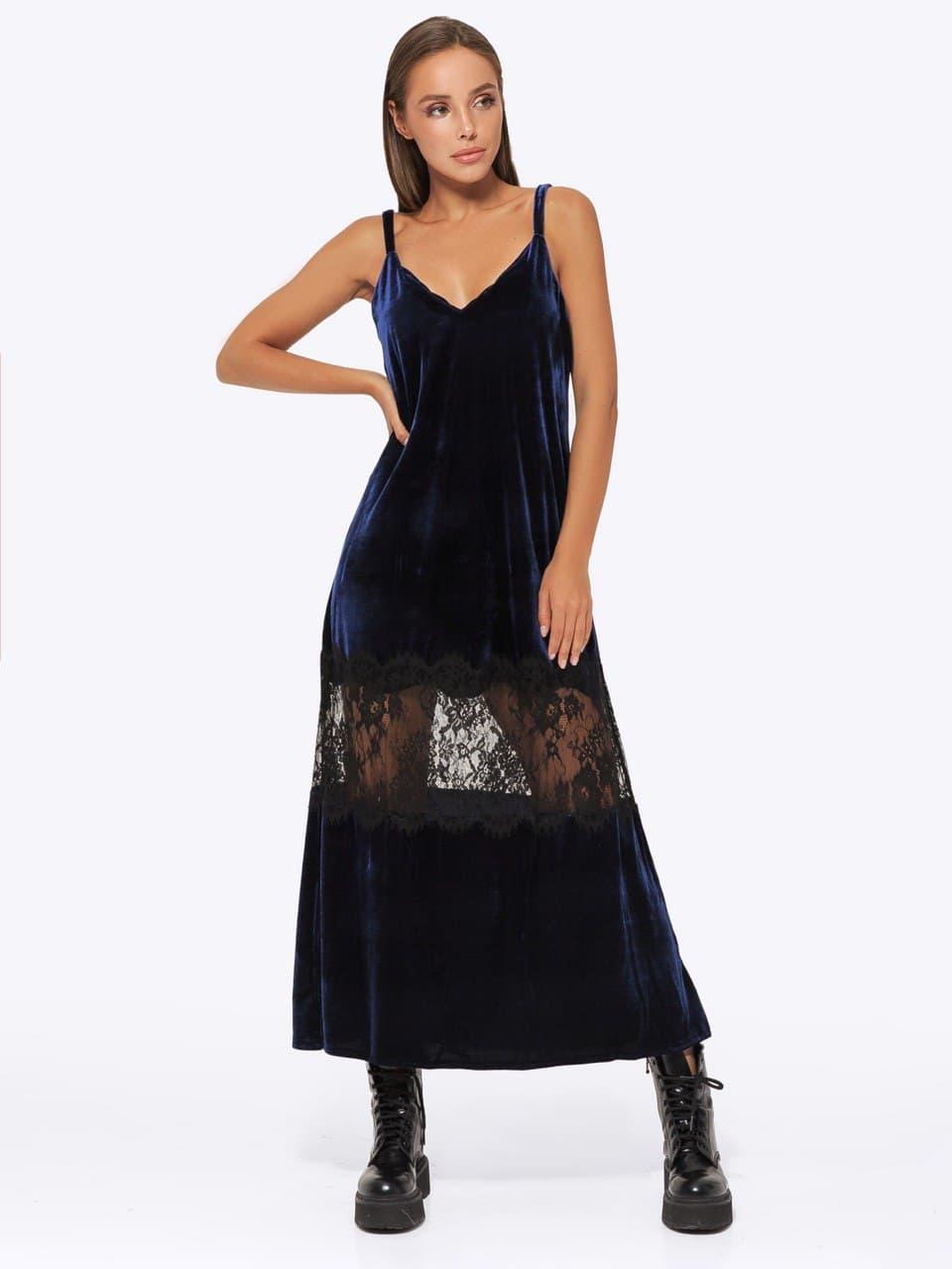 Платье бархат с кружевом AniTi  051, синий